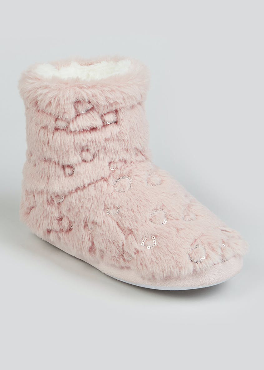 Sequin Heart Furry Slipper Boots