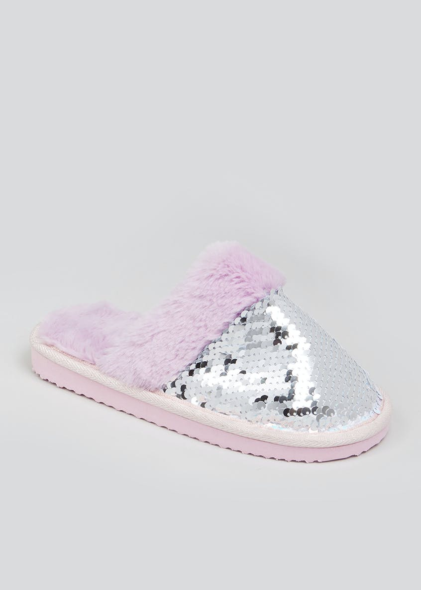 Girls Faux Fur Sequin Mule Slippers (Younger 10-Older 5)