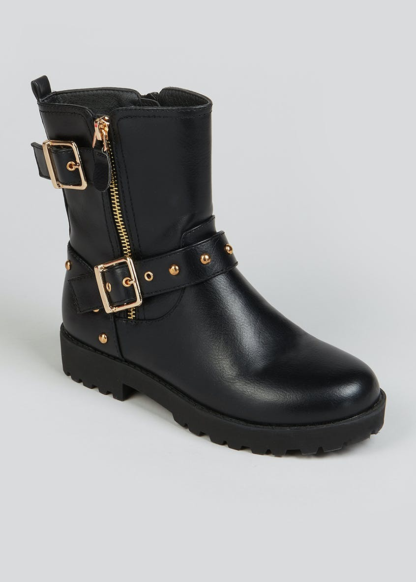 Girls Studded Buckle Biker Boots (Younger 10-Older 5)