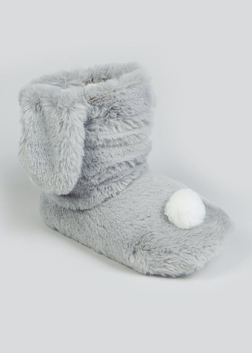 Girls Grey Bunny Slipper Boots (Younger 10-Older 5)