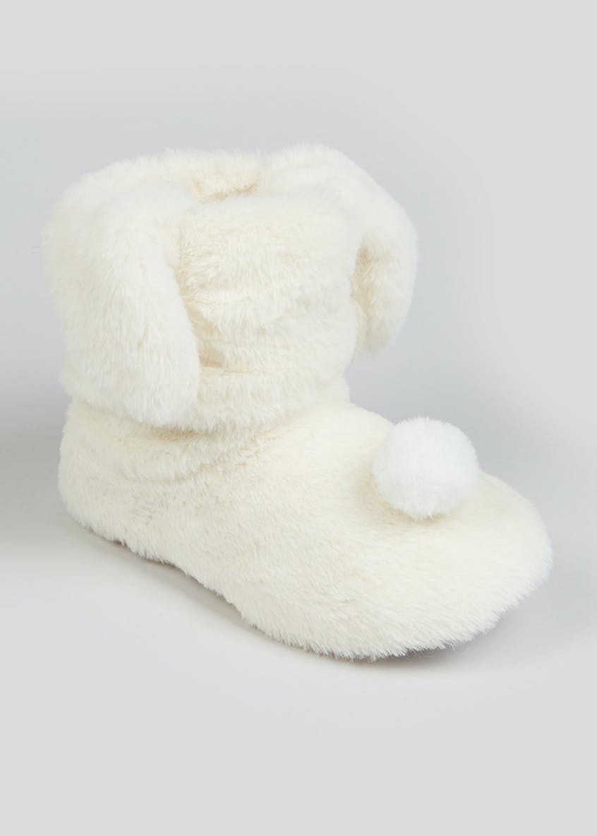 Girls Cream Bunny Slipper Boots (Younger 10-Older 5)