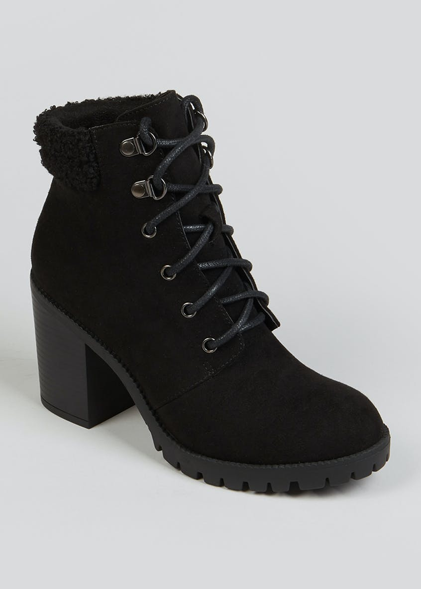 Black Heeled Lace Up Ankle Boots