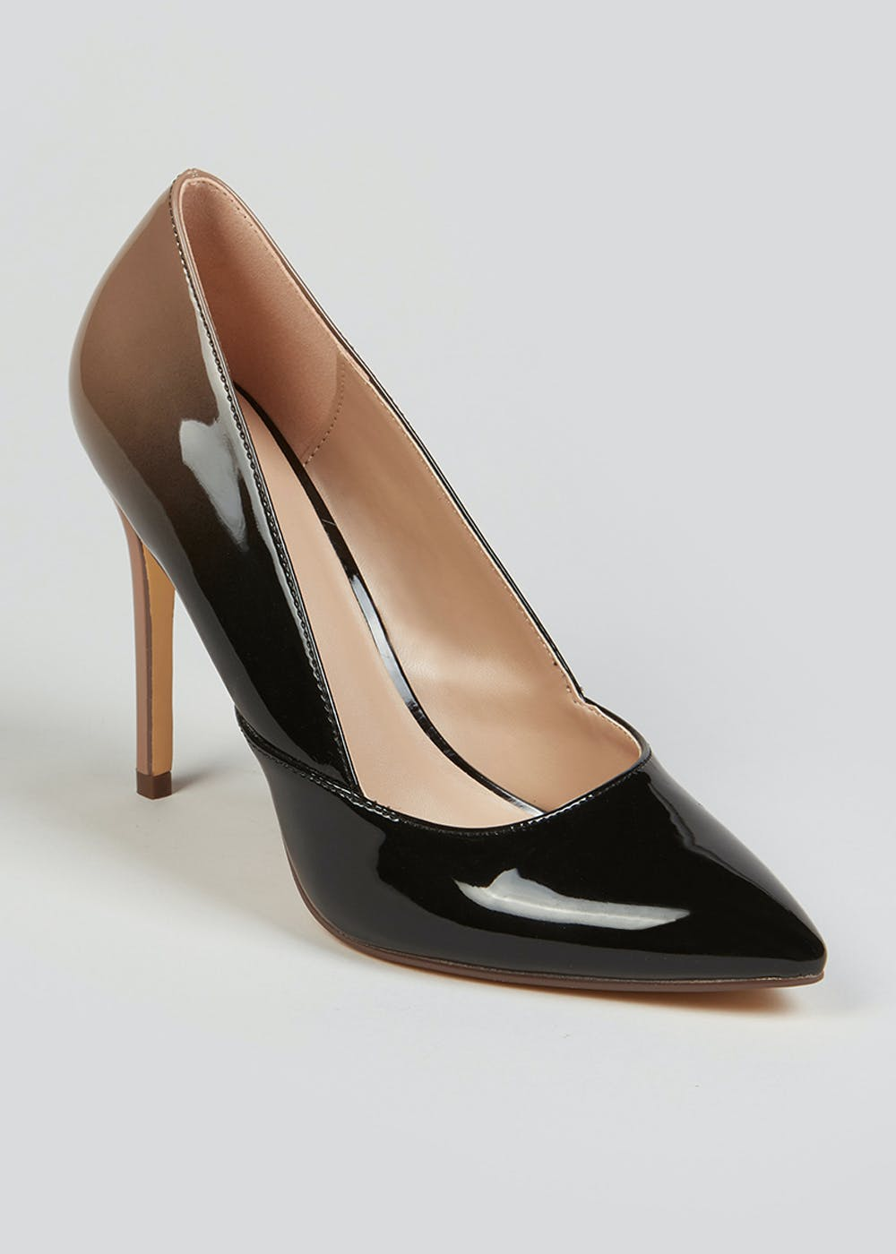 Black Ombre Point Court Shoes by Matalan