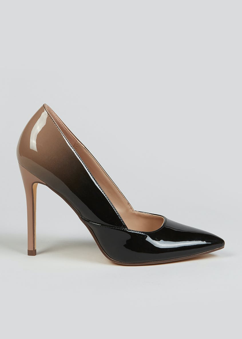 Black Ombre Point Court Shoes