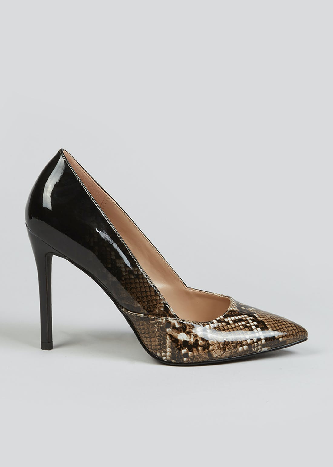 Brown Faux Snake Skin Ombre Point Court Shoes