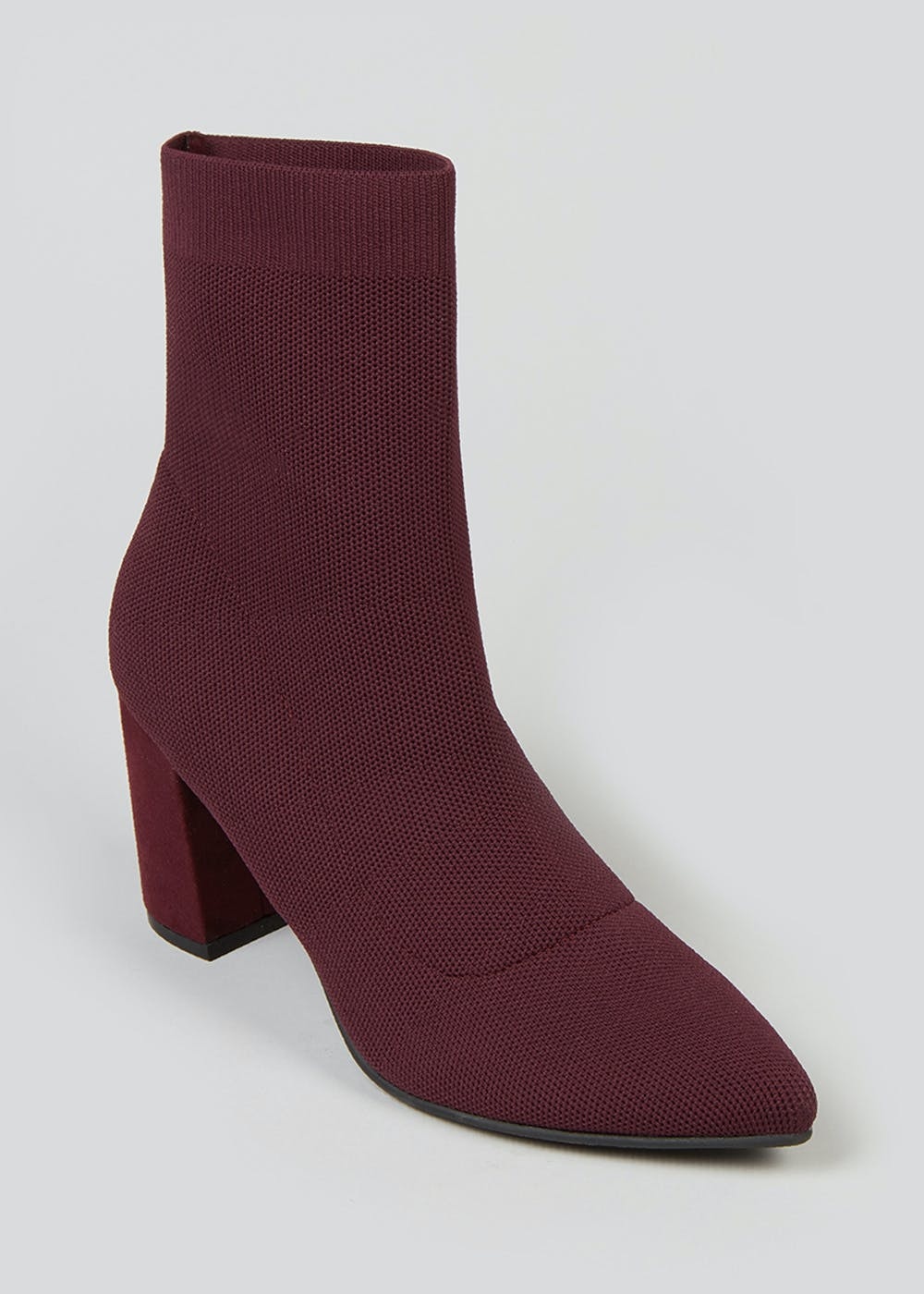 Burgundy Knitted Shoe Boots by Matalan