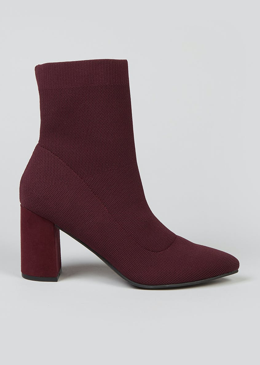 Burgundy Knitted Shoe Boots