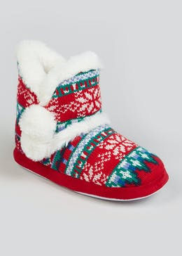 Girls Mini Me Red Fair Isle Slipper Boots (Younger 10-Older 5)