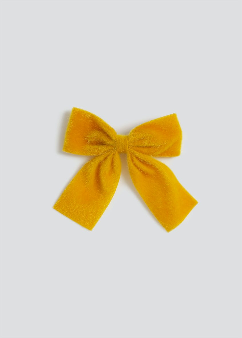 Girls Mustard Furry Bow Clip