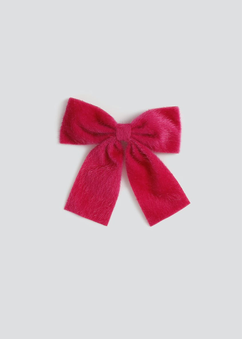 Girls Furry Bow Hair Clip