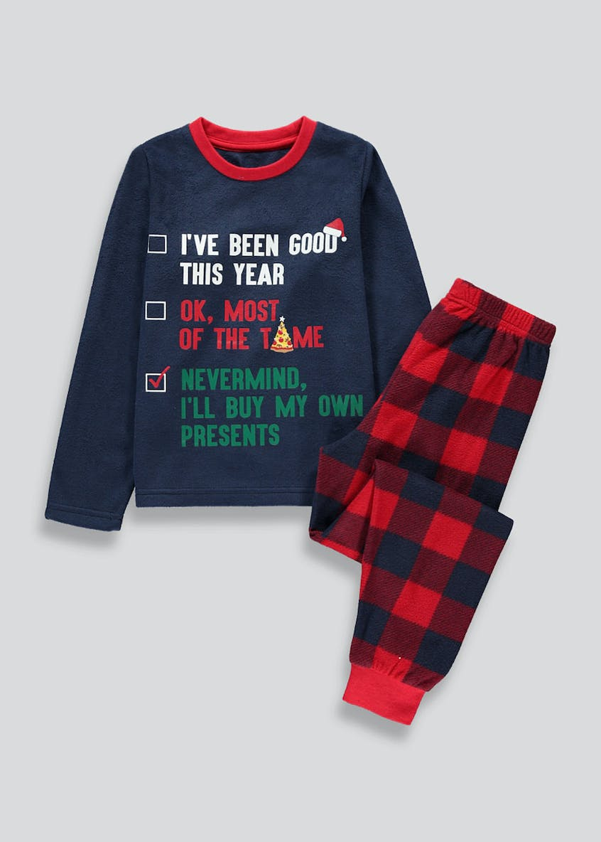 Boys Christmas List Fleece Pyjama Set (5-13yrs)