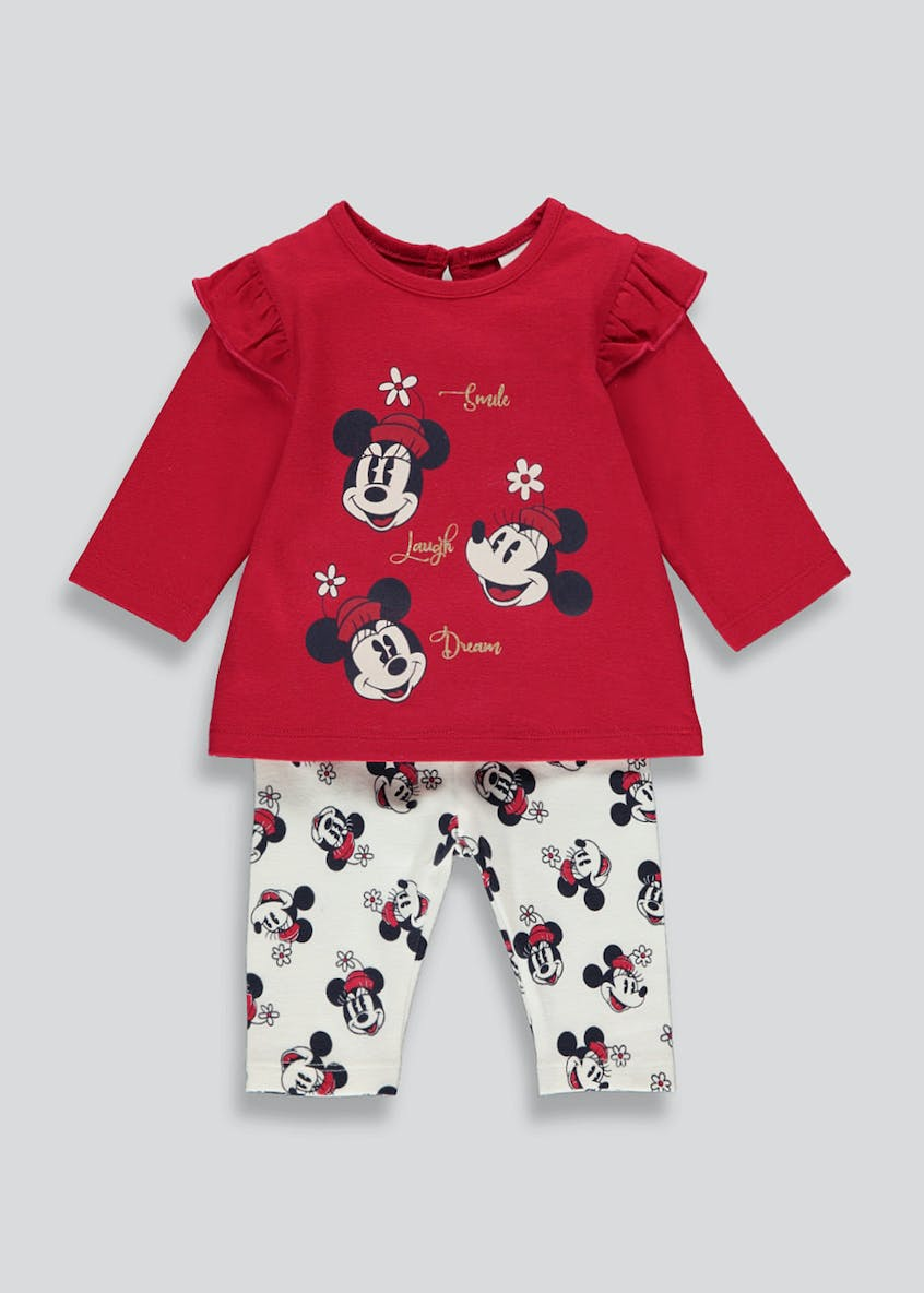 Kids Minnie Mouse Top and Leggings Set (Newborn-12mths)