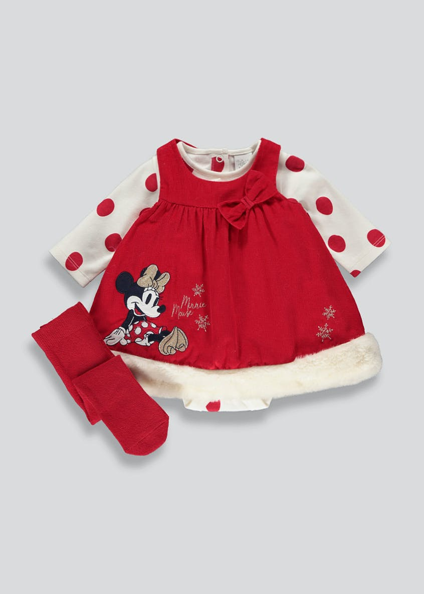 Girls Minnie Mouse Dress and Tights Set (Newborn-12mths)