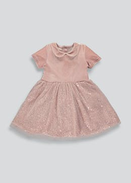 Girls Pink Short Sleeve Party Dress (9mths-6yrs)