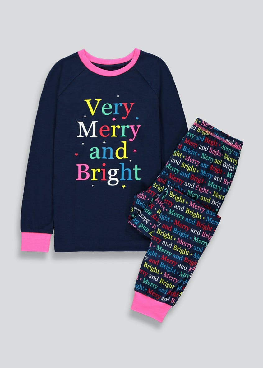 Girls Merry And Bright Christmas Pyjama Set (2-13yrs)