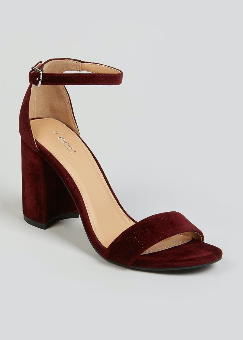 Burgundy Velvet Block Heel Sandals