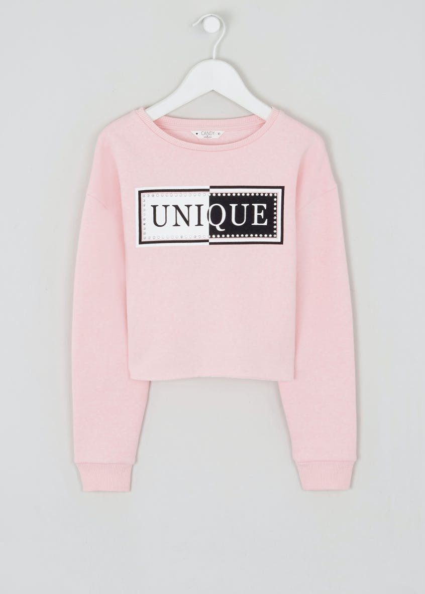 Girls Candy Couture Cropped Unique Slogan Jumper (9-16yrs)
