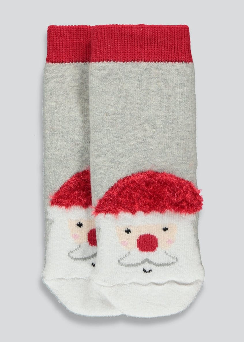 Kids Santa Christmas Slipper Socks (Younger 0-8.5)