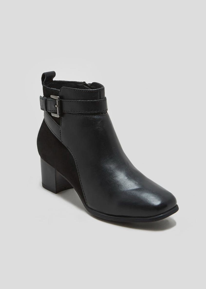 Soleflex Real Leather Heeled Buckle Ankle Boots