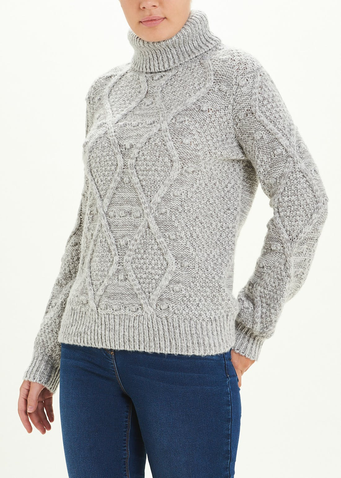 Bobble Roll Neck Cable Jumper