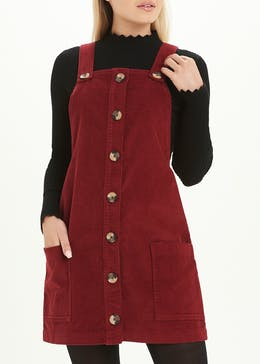 Burgundy Cord Pinafore Dress