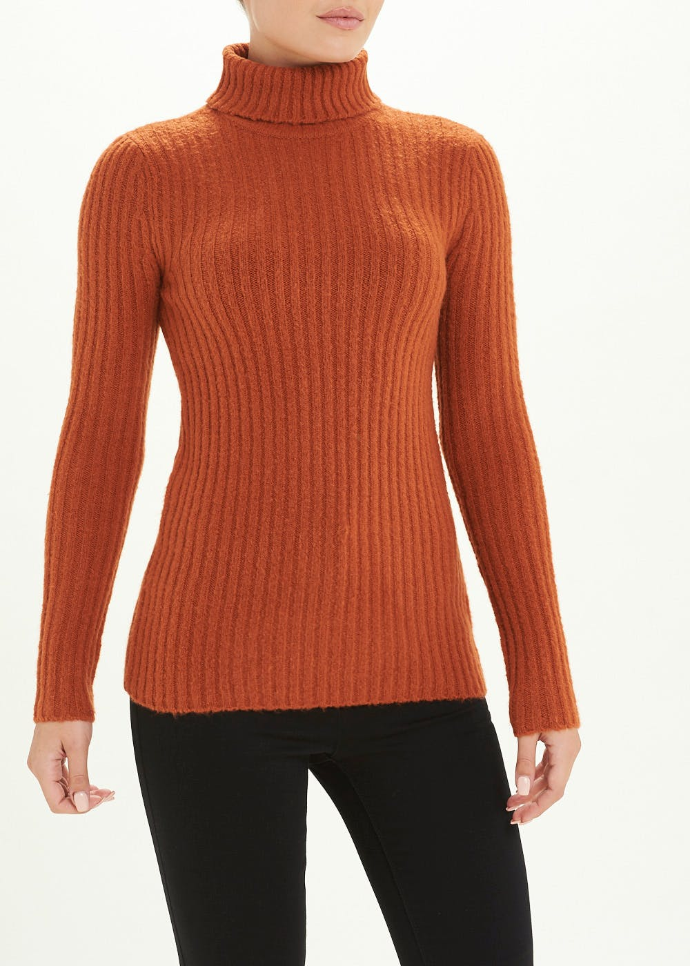 Chunky Ribbed Roll Neck Jumper – Rust