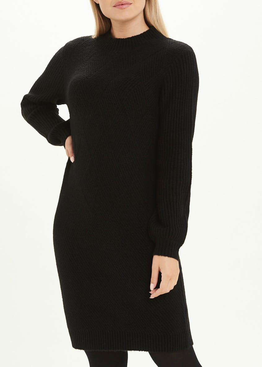 Black Long Sleeve Funnel Neck Jumper Dress