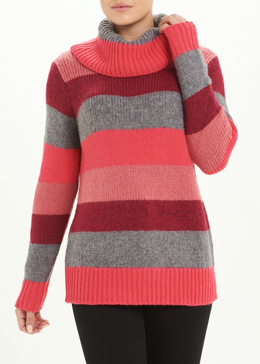 Stripe Cowl Neck Jumper