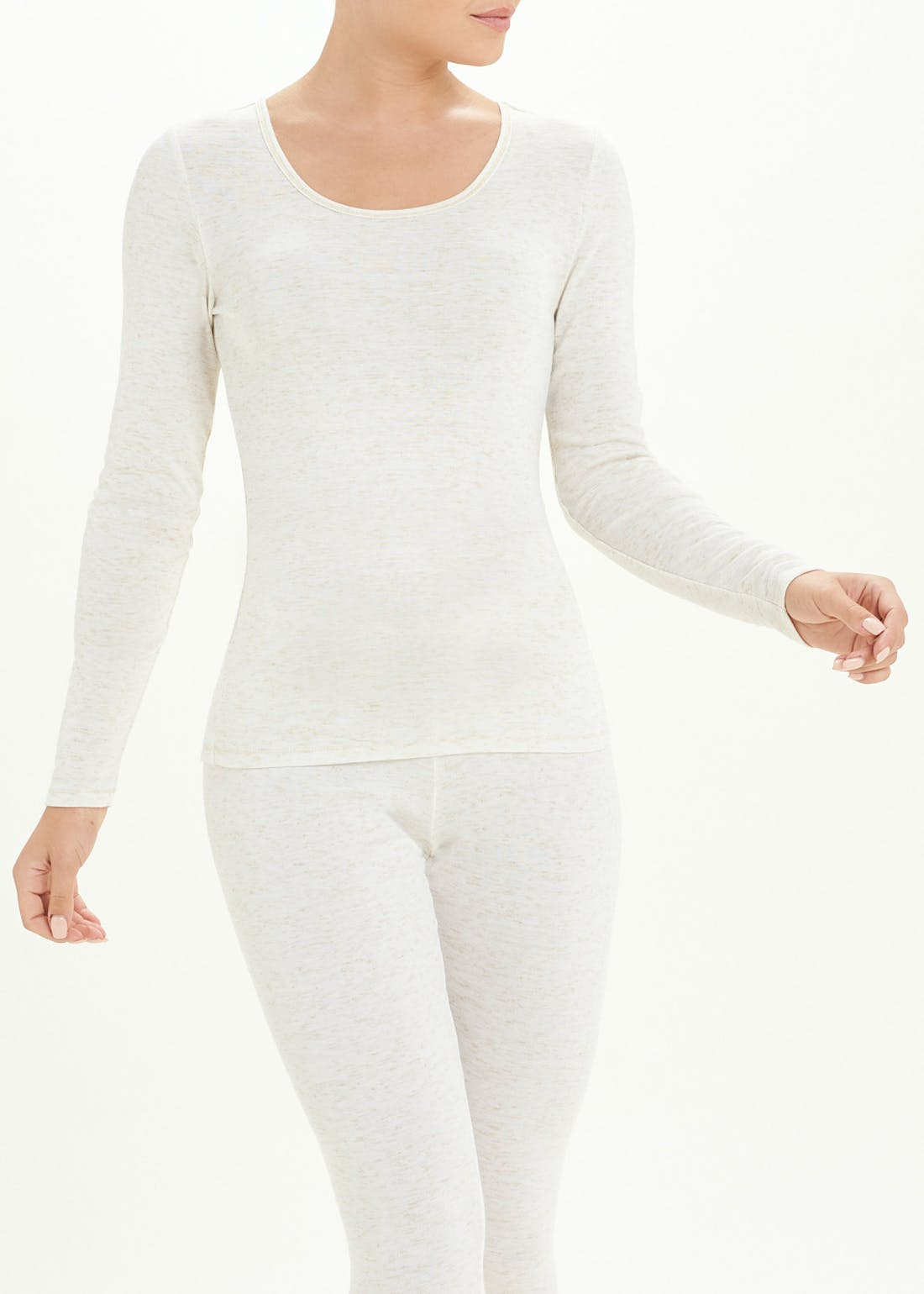 Long Sleeve Sparkle Trim Thermal Top