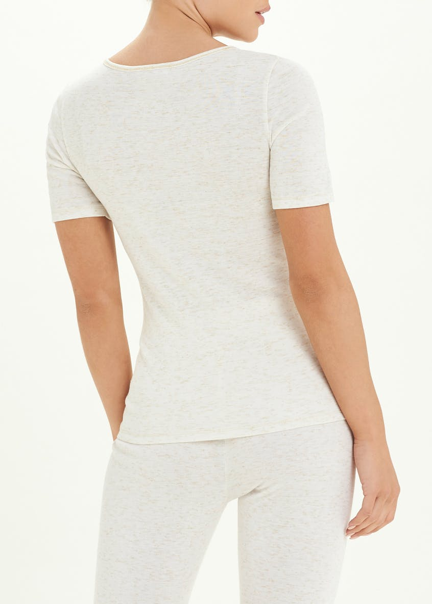 Short Sleeve Sparkle Trim Thermal Top