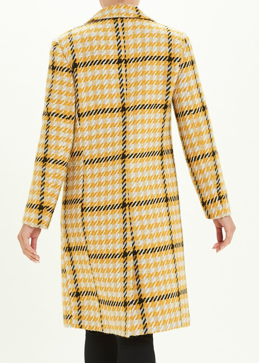 Yellow Check Single Breasted Coat