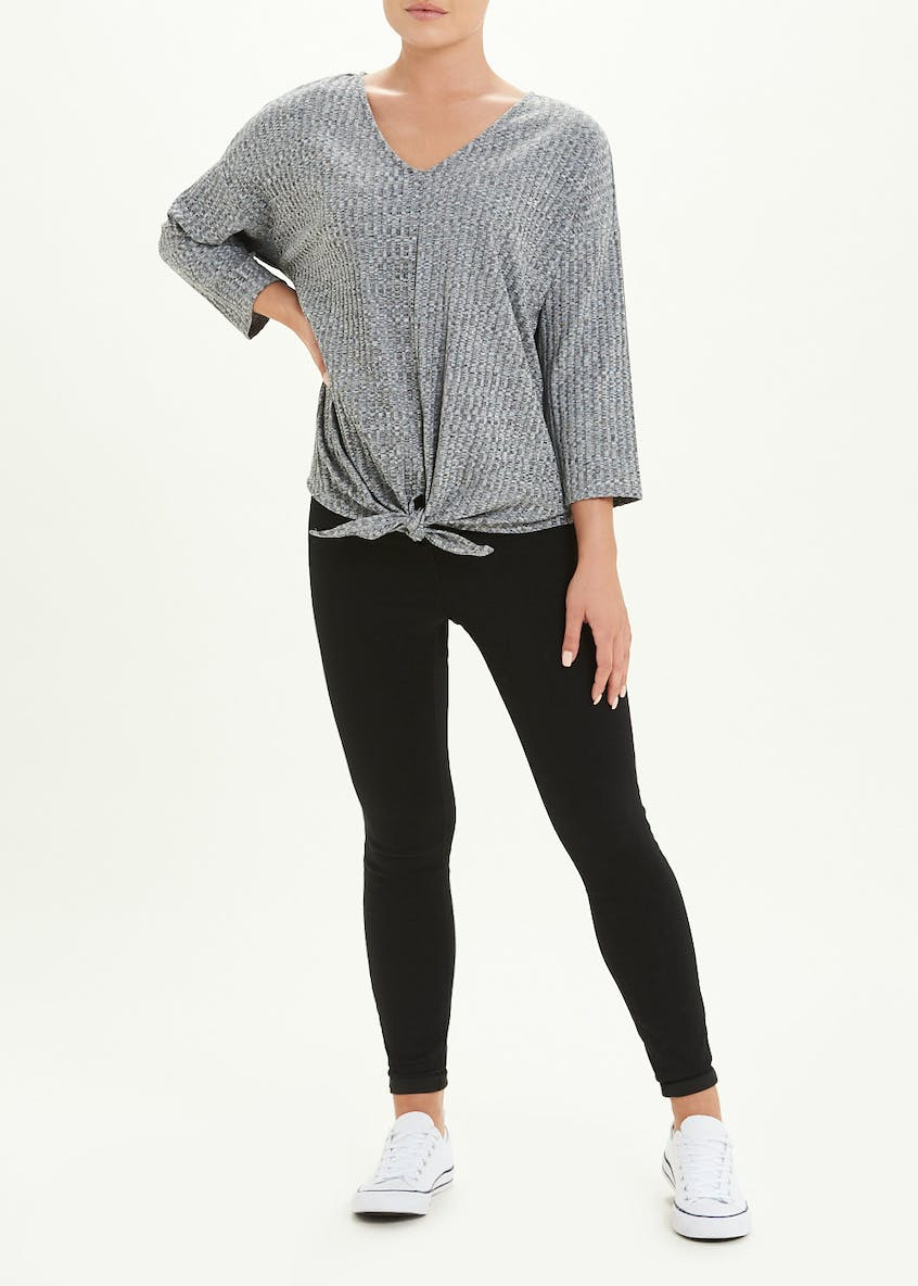 Ribbed Tie-Front V-Neck Top