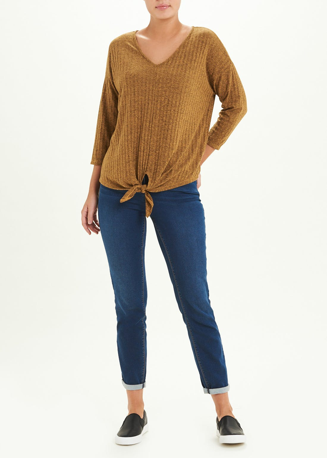 3/4 Sleeve Ribbed Tie-Front V-Neck Top