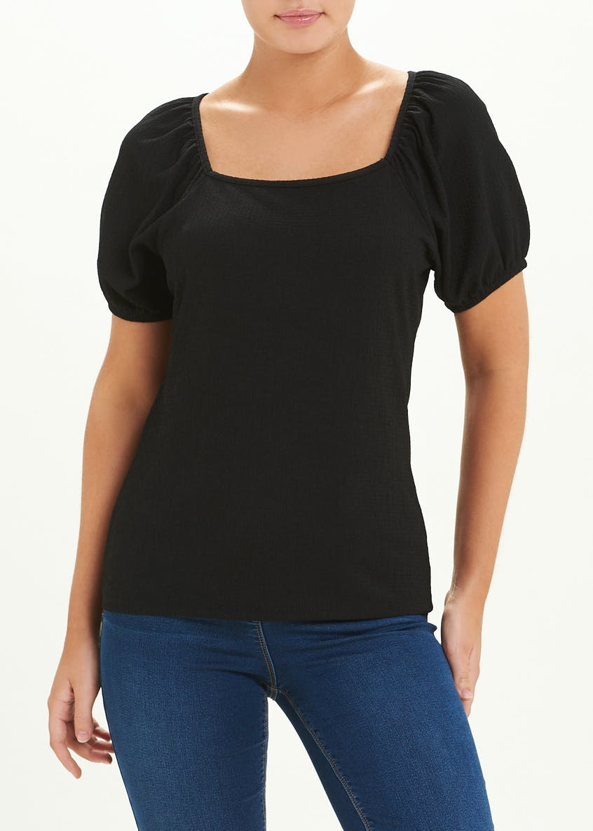 Puff Sleeve Square Neck Top