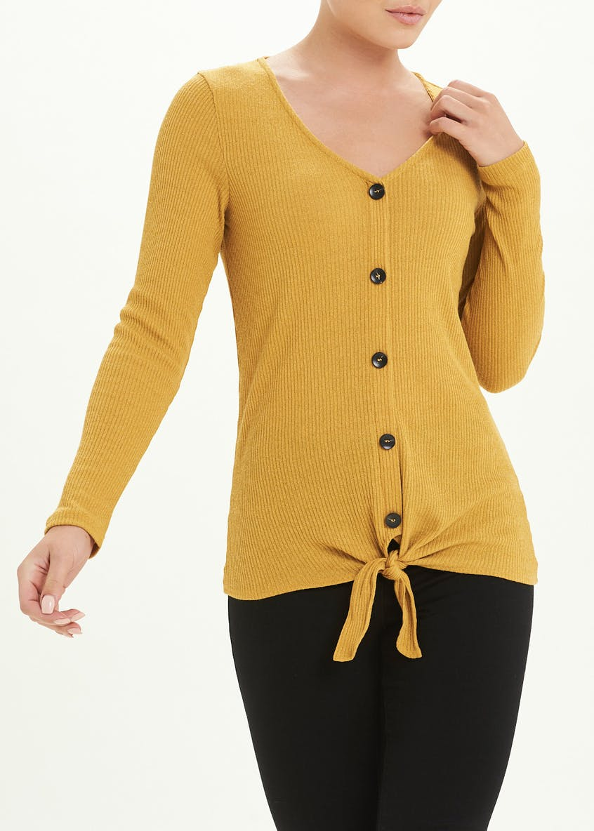 Buttoned Tie-Front V-Neck Top