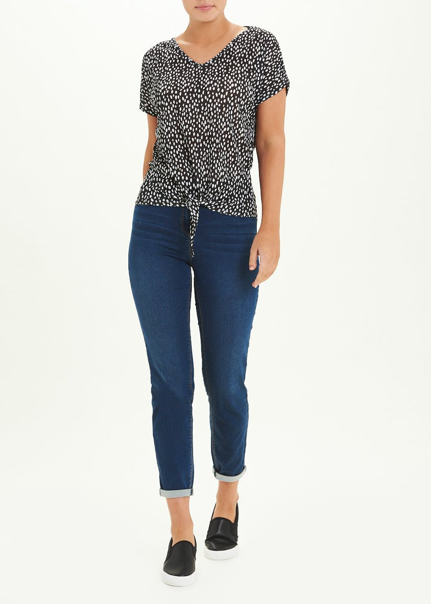 Printed Knot Front T-Shirt