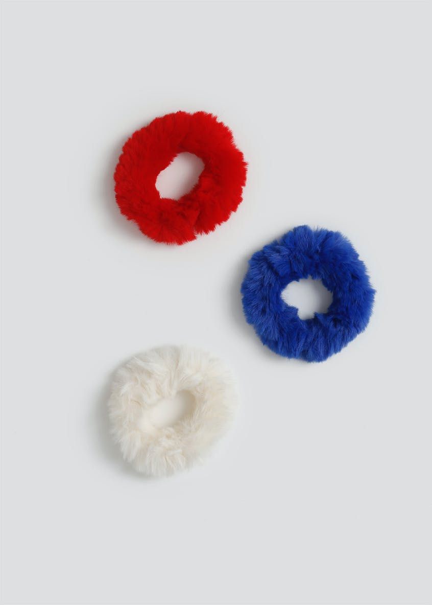 Girls 3 Pack Furry Scrunchies