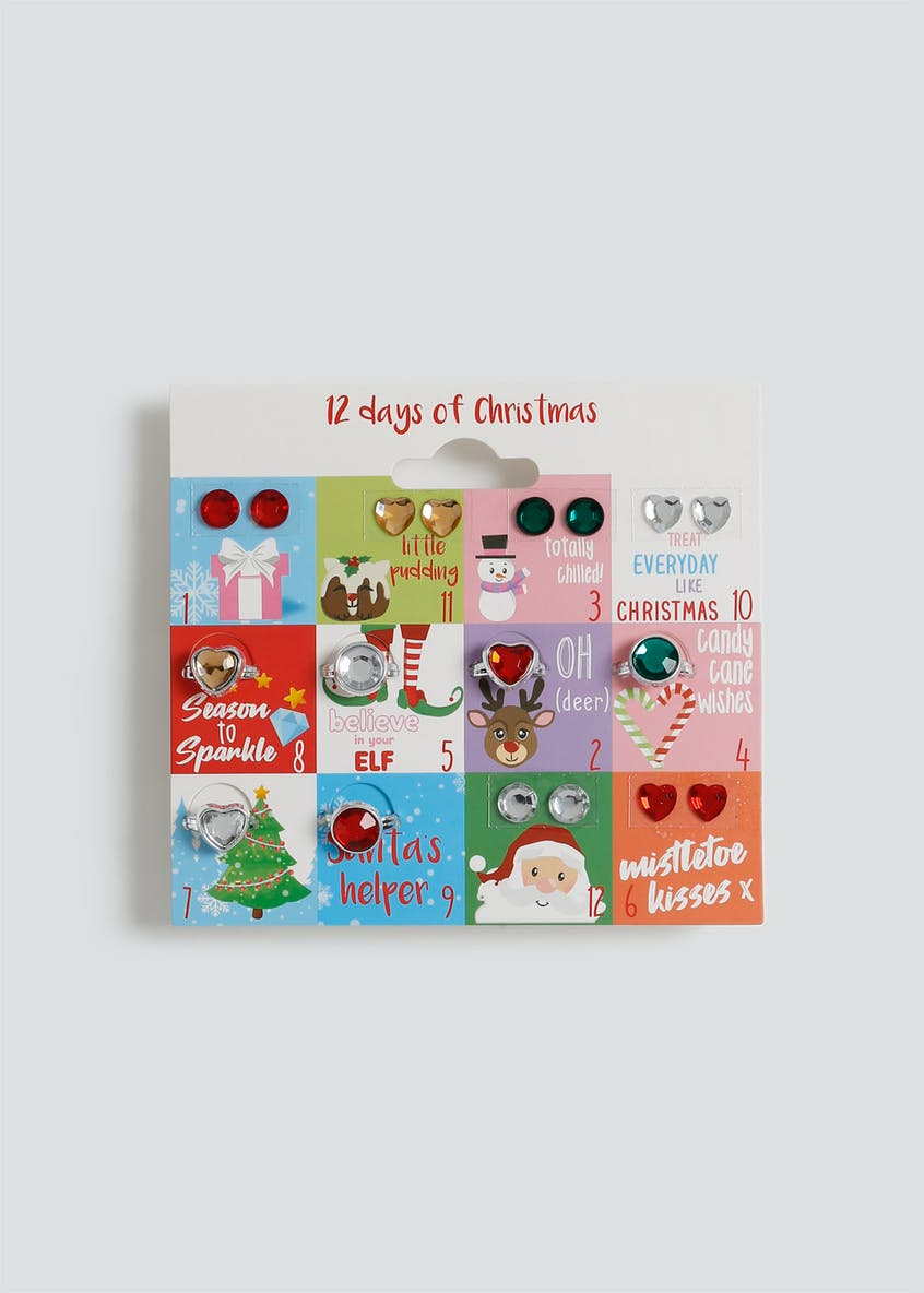 Girls Christmas Sticker Earring and Ring Set