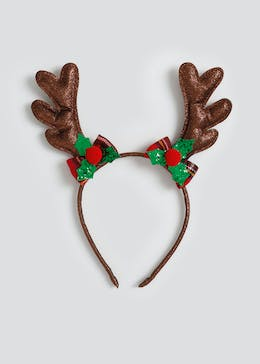 Girls Christmas Sparkle Reindeer Antler Aliceband