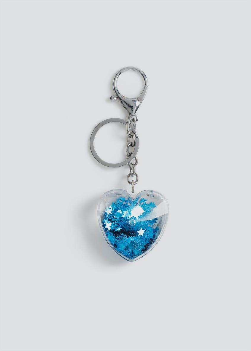 Girls Blue Heart Shaker Keyring