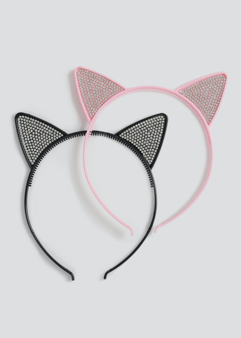 Girls 2 Pack Rhinestone Cat Ears