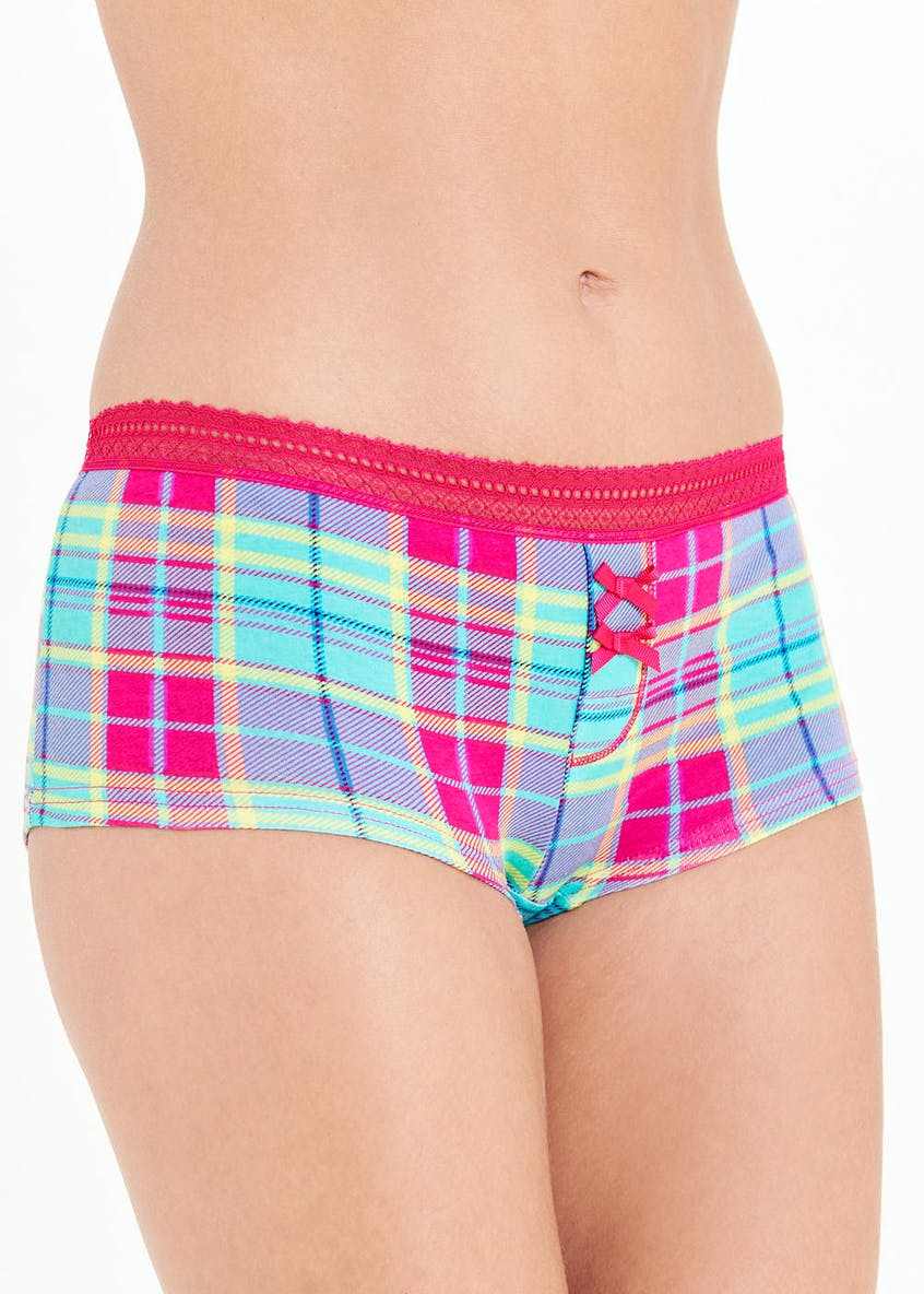 Check Print Boxer Knickers