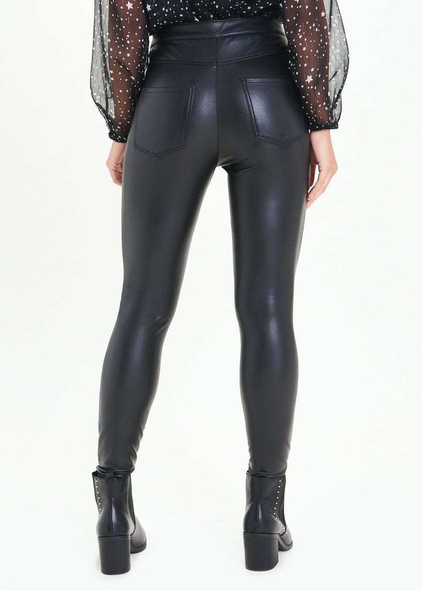 PU Leather Look Skinny Trousers