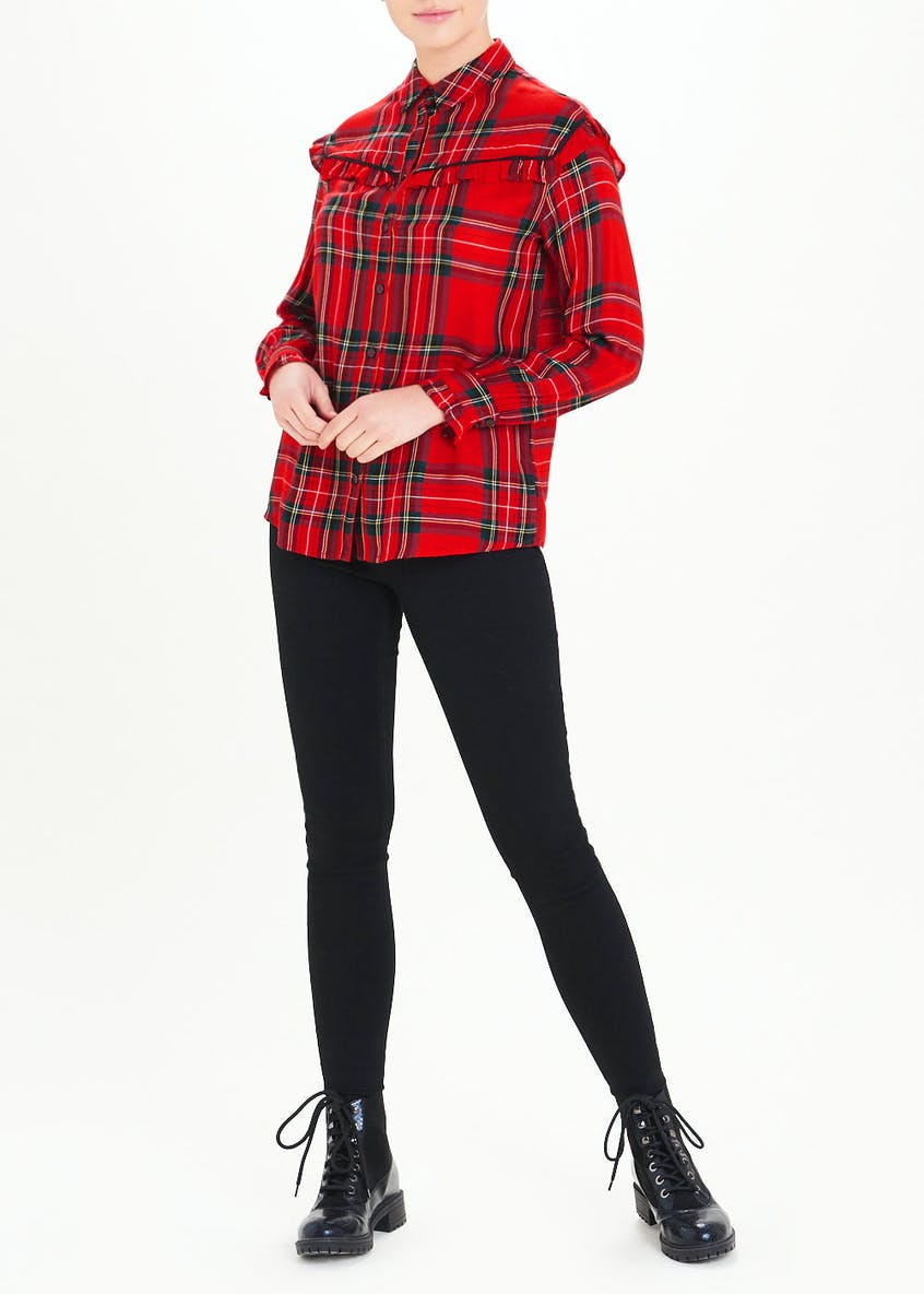 Red Long Sleeve Check Frill Western Shirt