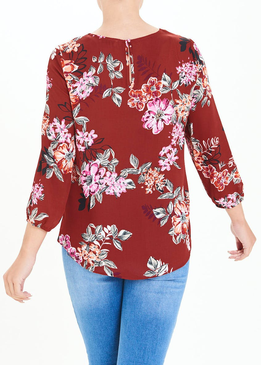 Burgundy Long Sleeve Floral Wrap Front Blouse
