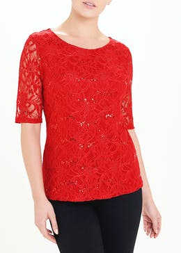 Short Sleeve Sequin Lace Top