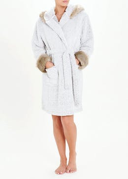 Fur Trim Dressing Gown