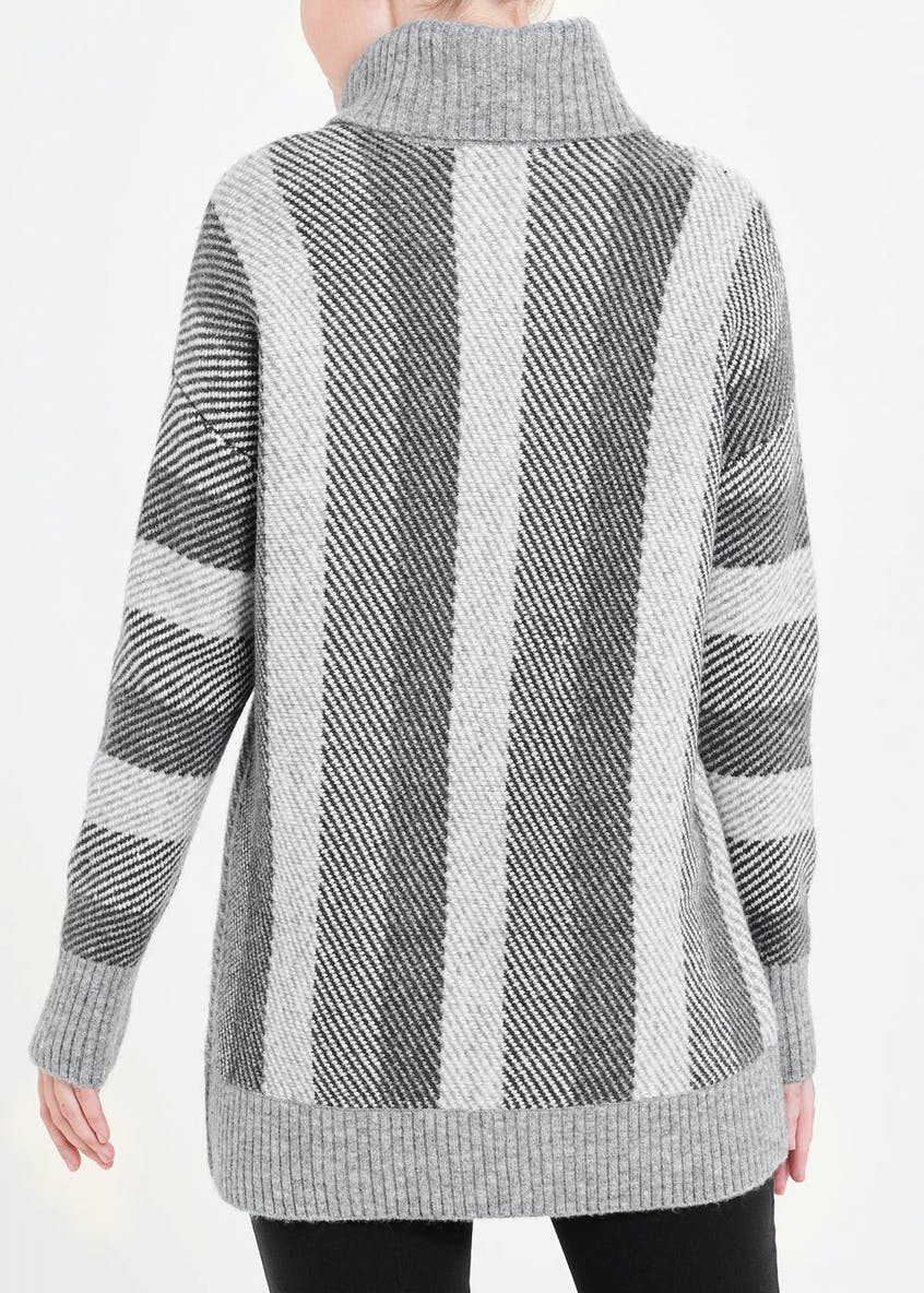 Roll Neck Stripe Tunic Jumper