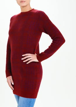 Jacquard Check Tunic Jumper