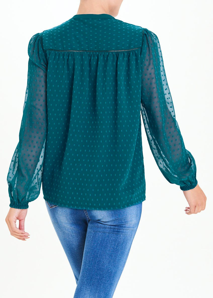 Falmer Teal Long Sleeve Embroidered Dobby Blouse